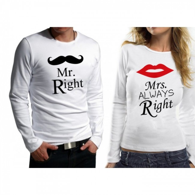 Комплект блузи за влюбени MR RIGHT - MRS ALWAYS RIGHT
