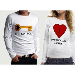 Комплект блузи за влюбени KEY - HEART
